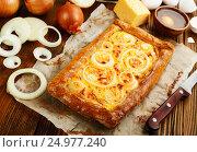 Купить «Пирог с сыром и луком на деревянном столе», фото № 24977240, снято 24 января 2017 г. (c) Надежда Мишкова / Фотобанк Лори