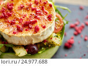 Купить «close up of goat cheese salad with vegetables», фото № 24977688, снято 22 сентября 2016 г. (c) Syda Productions / Фотобанк Лори