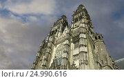 Купить «Gothic cathedral of Saint Gatien (built between 1170 and 1547), Tours, France», видеоролик № 24990616, снято 28 января 2017 г. (c) Владимир Журавлев / Фотобанк Лори