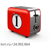 Купить «Vintage toaster isolated on white 3D illustration», иллюстрация № 24992864 (c) Hemul / Фотобанк Лори
