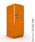 Купить «Retro fridge isolated white background 3D rendering», иллюстрация № 24992948 (c) Hemul / Фотобанк Лори