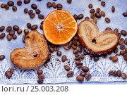 Дольки мандарина, печенье, сердечки, кружева. Стоковое фото, фотограф Ирина F24 / Фотобанк Лори