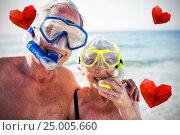 Купить «Composite image of senior couple on beach and hearts 3d», фото № 25005660, снято 11 декабря 2019 г. (c) Wavebreak Media / Фотобанк Лори