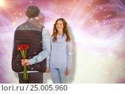 Купить «Composite image of man hiding roses behind back from woman», фото № 25005960, снято 11 декабря 2019 г. (c) Wavebreak Media / Фотобанк Лори