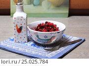 Купить «Винегрет в салатнике и масло на синей салфетке», эксклюзивное фото № 25025784, снято 30 января 2017 г. (c) Яна Королёва / Фотобанк Лори