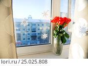 Bouquet of rosea in a glass vase near the window. Стоковое фото, фотограф Валерия Лузина / Фотобанк Лори