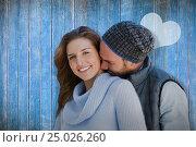 Купить «Composite image of happy couple embracing each other», фото № 25026260, снято 11 декабря 2019 г. (c) Wavebreak Media / Фотобанк Лори