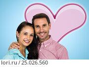 Купить «Composite image of smiling couple looking at camera», фото № 25026560, снято 11 декабря 2019 г. (c) Wavebreak Media / Фотобанк Лори