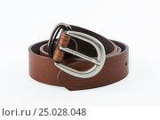 Leather men's belt. Стоковое фото, фотограф Станислав Занегин / Фотобанк Лори