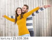 Купить «Happy couple pretending to fly», фото № 25039384, снято 19 марта 2019 г. (c) Wavebreak Media / Фотобанк Лори