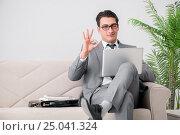 Купить «Businessman with laptop notebook sitting in sofa», фото № 25041324, снято 14 октября 2016 г. (c) Elnur / Фотобанк Лори
