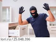 Купить «Robber wearing balaclava stealing valuable things», фото № 25048396, снято 12 декабря 2016 г. (c) Elnur / Фотобанк Лори