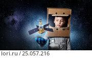She wants to become astronaut . Mixed media. Стоковое фото, фотограф Sergey Nivens / Фотобанк Лори