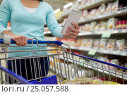 Купить «woman with food in shopping cart at supermarket», фото № 25057588, снято 2 ноября 2016 г. (c) Syda Productions / Фотобанк Лори