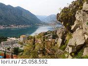 Купить «Вид на Боко-Которскую бухту с вершины горы, город Котор, Черногория», эксклюзивное фото № 25058592, снято 7 апреля 2016 г. (c) Артём Крылов / Фотобанк Лори