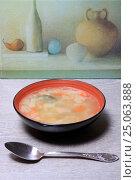 Купить «Тарелка супа и ложка столе», эксклюзивное фото № 25063888, снято 2 февраля 2017 г. (c) Яна Королёва / Фотобанк Лори