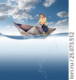 Кризис ЕВРО. Девушка удерживает равновесие в бумажной лодке из евро. Концепция. Коллаж. Стоковое фото, фотограф Валерий Тырин / Фотобанк Лори