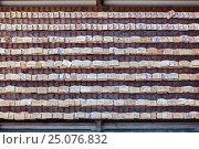 Стена с деревянными пластинками испысанными пожеланиями в святилище Хаседера (Hasedera). Камакура, Япония (2013 год). Редакционное фото, фотограф Кекяляйнен Андрей / Фотобанк Лори