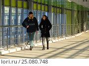 Купить «Наземный пешеходный переход станции «Зорге» Московского центрального кольца (МЦК). Хорошевский район. Москва», эксклюзивное фото № 25080748, снято 5 февраля 2017 г. (c) lana1501 / Фотобанк Лори