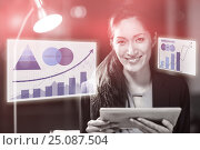 Купить «Composite image of business woman with a digital tablet against graph», фото № 25087504, снято 21 сентября 2019 г. (c) Wavebreak Media / Фотобанк Лори