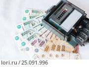 Counter Russian ruble on a white background. Стоковое фото, фотограф Катерина Белякина / Фотобанк Лори