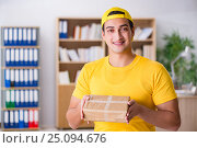 Купить «Delivery man delivering parcel box», фото № 25094676, снято 1 ноября 2016 г. (c) Elnur / Фотобанк Лори
