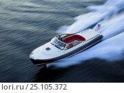 Купить «Hinckley T38R speedboat travelling fast, Rhode Island, USA.», фото № 25105372, снято 15 августа 2018 г. (c) Nature Picture Library / Фотобанк Лори