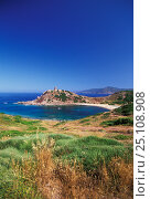 Купить «Torre del Porticciolo (Spanish guard tower) near Alghero, Sardinia, Italy. ^^^The towers were built to protect against the Saracean invasion during the Spanish domination in Sardinia.», фото № 25108908, снято 25 мая 2018 г. (c) Nature Picture Library / Фотобанк Лори