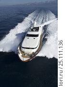 Купить «Luxurious 35-metre Gaia motoryacht, from the Cantieri Maiora boathouse, cruising along the coast of Viareggio, Italy.», фото № 25111136, снято 16 июля 2018 г. (c) Nature Picture Library / Фотобанк Лори