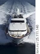 Купить «Luxurious 35-metre Gaia motoryacht, a model from the Cantieri Maiora boathouse, cruising along the coast of Viareggio, Tuscany, Italy.», фото № 25111140, снято 16 июля 2018 г. (c) Nature Picture Library / Фотобанк Лори