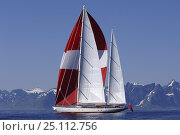 Купить «Adele sailing in the Lofoten Islands, Norway, on her maiden voyage. ^^^Adele is a 180-foot Andre Hoek designed yacht, built by Vitters Shipyard, Holland...», фото № 25112756, снято 19 января 2020 г. (c) Nature Picture Library / Фотобанк Лори
