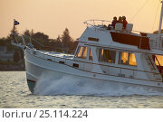 Купить «Grand Banks motoryacht cruising into the sunset.», фото № 25114224, снято 16 октября 2019 г. (c) Nature Picture Library / Фотобанк Лори