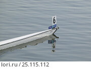 Купить «Bow of a rowing boat on the water, Olympic Games 2004, Athens, Greece. 14th August 2004.  Editorial Use Only.», фото № 25115112, снято 19 ноября 2018 г. (c) Nature Picture Library / Фотобанк Лори