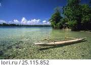 Traditional canoe (pirogue) in front of small island between New Hannover and New Ireland, Papua New Guinea. Стоковое фото, фотограф Roberto Rinaldi / Nature Picture Library / Фотобанк Лори