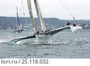 "Купить «Alain Gautier's 60ft ORMA trimaran ""Foncia"" heeling while racing at the 2004 Grand Prix de Fecamp, France. For EDITORIAL use only.», фото № 25118032, снято 16 июля 2018 г. (c) Nature Picture Library / Фотобанк Лори"