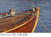 Купить «Bow of a classic wooden yacht moored on the coast of Lyr island, situated on the west coast of Sweden.», фото № 25118228, снято 9 апреля 2020 г. (c) Nature Picture Library / Фотобанк Лори
