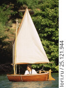 Купить «A tiny but immaculate wooden dinghy is out for a sail by its proud owner 1994.», фото № 25121944, снято 23 февраля 2018 г. (c) Nature Picture Library / Фотобанк Лори
