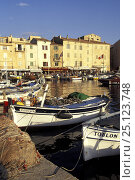 Купить «Boats moored in the sunny harbour of St Tropez, France.», фото № 25123748, снято 22 августа 2019 г. (c) Nature Picture Library / Фотобанк Лори