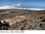 Купить «Overview of Las Canadas caldera from the 3700m summit of Mount Teide, the highest mountain in Europe, with old lava flows and pumice deposits, with clouds...», фото № 25136440, снято 21 января 2020 г. (c) Nature Picture Library / Фотобанк Лори