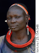 Купить «Woman from the Toposa tribe, with facial skin scarification and wearing traditional head wear and jewels, Ethiopia, Omo Valley, March 2015.», фото № 25154548, снято 9 июля 2020 г. (c) Nature Picture Library / Фотобанк Лори