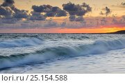 Купить «Crashing waves of the Baltic Sea at sunset, on the coast of Hiiumaa island,  Kopu Nature Reserve, Estonia, August 2011.», фото № 25154588, снято 17 августа 2018 г. (c) Nature Picture Library / Фотобанк Лори