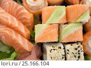 Купить «Close-up of assorted sushi», фото № 25166104, снято 8 декабря 2016 г. (c) Wavebreak Media / Фотобанк Лори