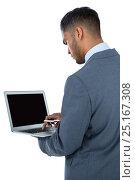 Купить «Businessman using laptop», фото № 25167308, снято 11 августа 2016 г. (c) Wavebreak Media / Фотобанк Лори