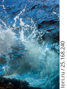 Купить «Underwater view of waves crashing on the shore over coral reef, Lembeh Strait, North Sulawesi, Indonesia.», фото № 25168240, снято 17 августа 2018 г. (c) Nature Picture Library / Фотобанк Лори