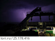 Купить «View of lightning from a fishing vessel on the North Sea, May 2014. All non-editorial uses must be cleared individually.», фото № 25178416, снято 16 октября 2018 г. (c) Nature Picture Library / Фотобанк Лори