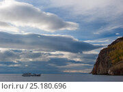 Купить «Boat off the coast of Olkhon island, Lake Baikal, Siberia, Russia, September 2013.», фото № 25180696, снято 20 января 2018 г. (c) Nature Picture Library / Фотобанк Лори