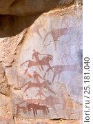 Купить «Rock painting showing warriors riding into battle on lions. Guilemsi, central Mauritania, 2004.», фото № 25181040, снято 5 июня 2020 г. (c) Nature Picture Library / Фотобанк Лори