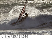 Купить «Daniel Bruch (GER) competing in La Torche, Wave Event, Windsurf World Cup 2014, 21st October 2014. Plomeur, Finistere, France. All non-editorial uses must be cleared individually.», фото № 25181516, снято 16 июля 2018 г. (c) Nature Picture Library / Фотобанк Лори