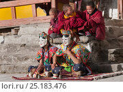 Gonyingcham, a dance performed in reference to the heavenly angels mentioned in Tantrayana Buddhism. These angels represent the beautiful girls from different... Стоковое фото, фотограф Bernard Castelein / Nature Picture Library / Фотобанк Лори