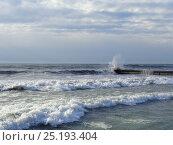 Купить «Зимний шторм на Черном море, волны разбиваются у пирса», фото № 25193404, снято 8 января 2017 г. (c) DiS / Фотобанк Лори